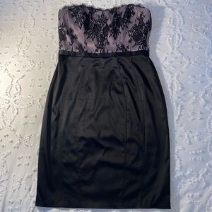 WHBM Strapless Black Lace Cocktail Dress